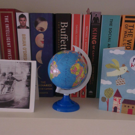 Notes From Another Land / Globe and bookshelf