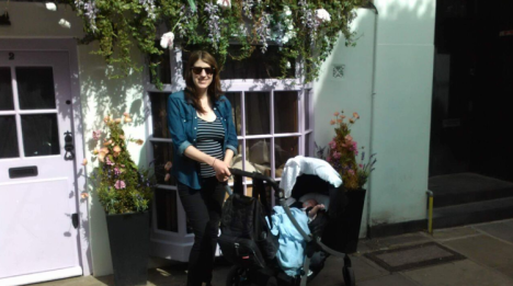 Amy Lynch and baby in Hampstead, London, England August 2016