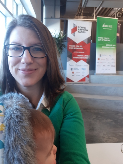 Amy Lynch and baby at Invest Ottawa April 2019