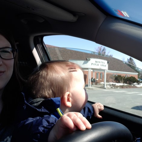 Amy Maureen Lynch with baby at library | Notes From Another Land