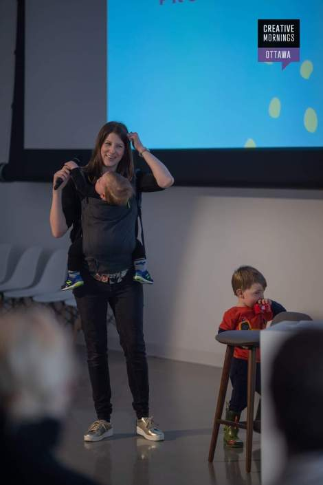 Amy Lynch presenting at CreativeMorning Ottawa with her kids