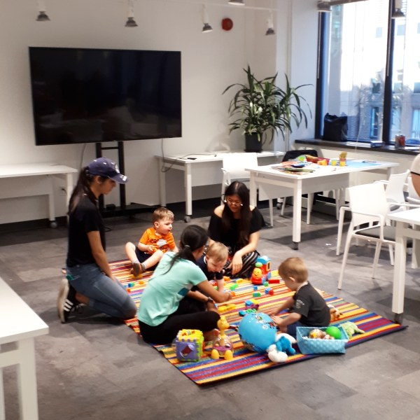 Amy Maureen Lynch's children using pop-up childcare at Impact Hub Ottawa
