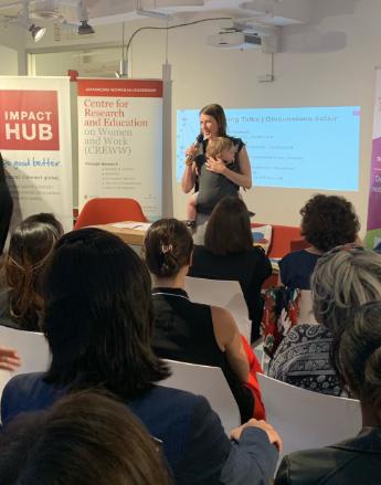 Amy Maureen Lynch presenting at Launch of Eastern Ontario's Women's Entrepreneurship Knowledge Hub at Impact Hub Ottawa