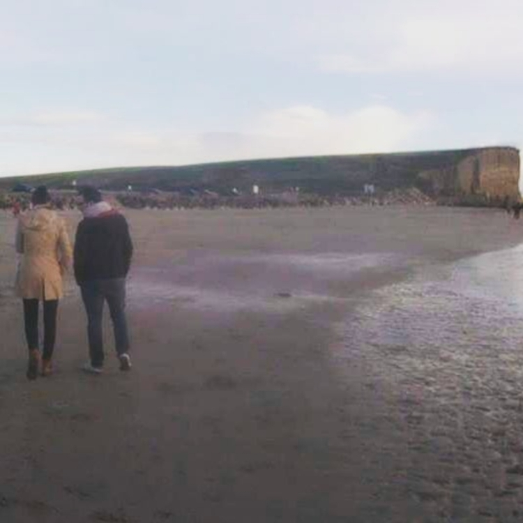 Amy Maureen Lynch and husband in Silverstrand, Galway, Ireland | Notes From Another Land