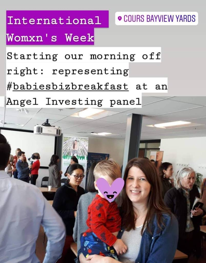 Amy Maureen Lynch and toddler at an Angel Investor breakfast for International Womxn's Week at Bayview Yards