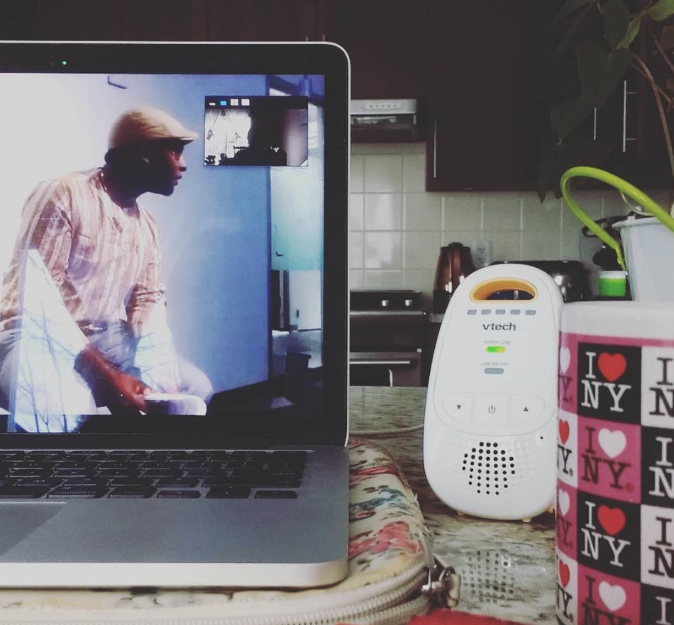 Work From Home Webinar, baby monitor and coffee using the kitchen counter as a desk | Notes From Another Land | Amy Maureen Lynch