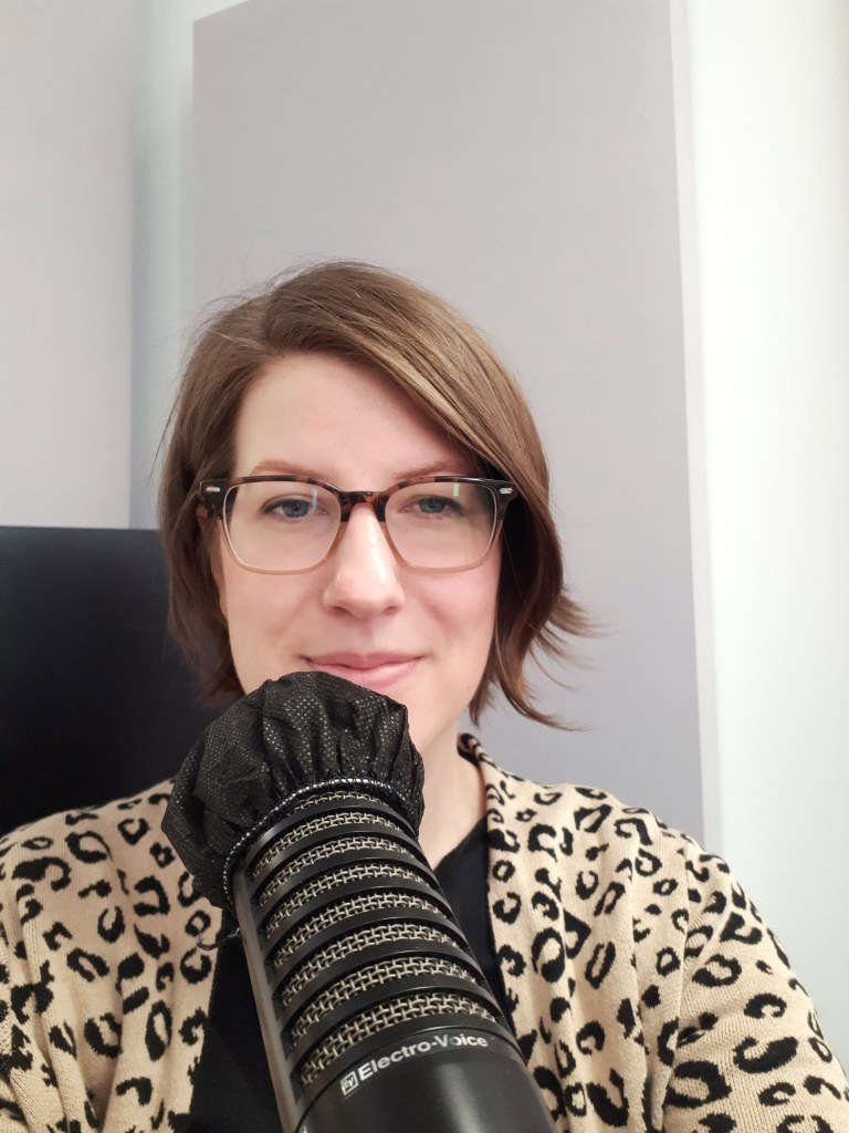 Amy Maureen Lynch recording the audiobook version of her first book 'Startup Blogging: Validate A Business Idea and Build Your Audience' at Pop Up Podcasting in Ottawa, Canada.